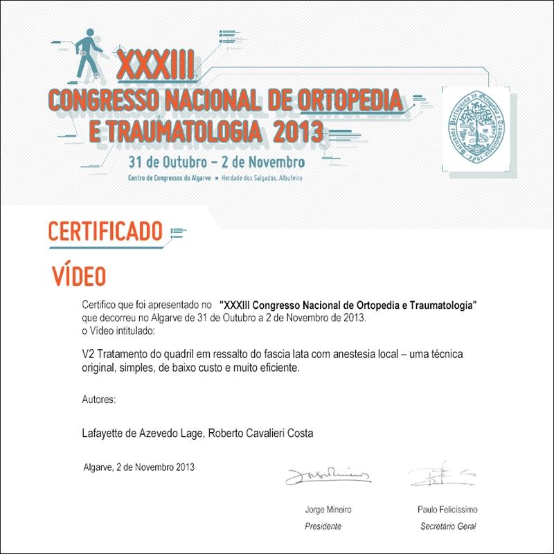 XXXIII Congresso de Ortopedia e Traumatologia 2013 - Algarve, Portugal