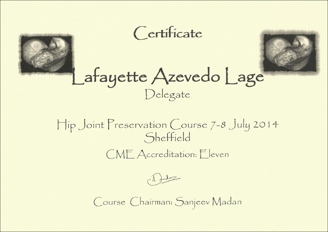 Certificado Hip Joint Preservation Course